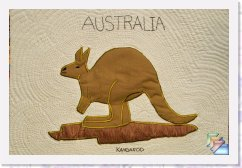 Gday Mate *  Australian quilts, pillows, and crafts, wall hanging Australian Animals:This quilt has the most popular of the native animals and birds.The colors are color brown or light coffe color ,with a light brownand an interesting aboriginal print for the border of the quilt in differentbrowns.Also has been embroidered with the Husqvarna Viking Rose.This particular Quilt has been Machine quilted. It is a piece of reminder of Down Under. * (15 Slides)